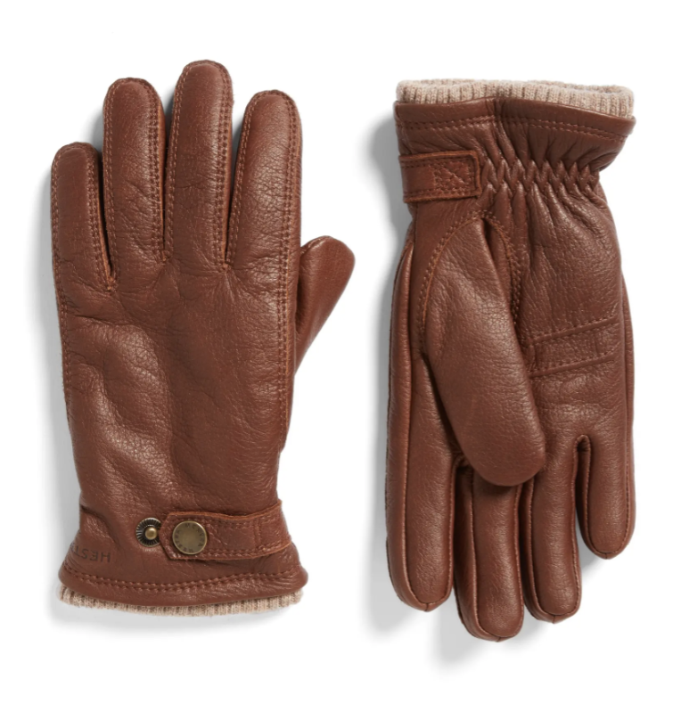 brown leather gloves with beige knit cuff