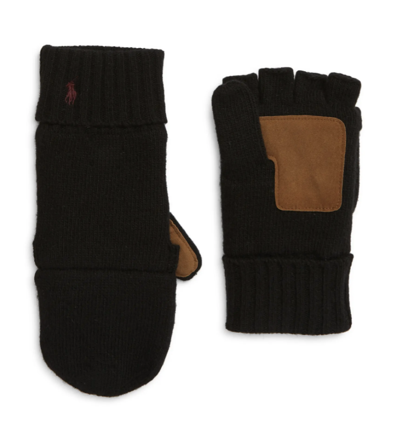 black wool gloves with light brown suede palm