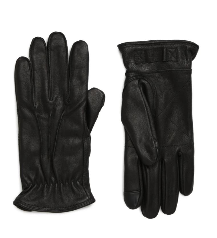 black leather ugg gloves