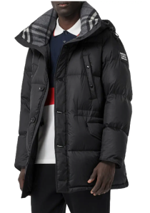 logo patch hooded down puffer coat, puffer jacket
