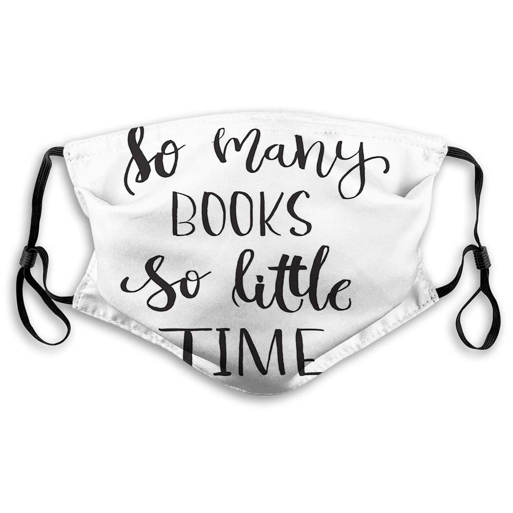 black and white book-themed face mask, best gifts for book lovers