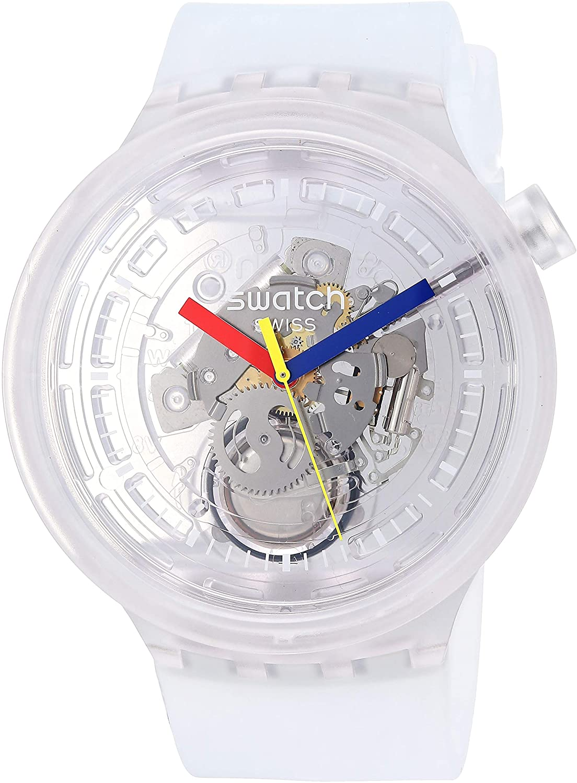 swatch clear swiss quartz skelton watch