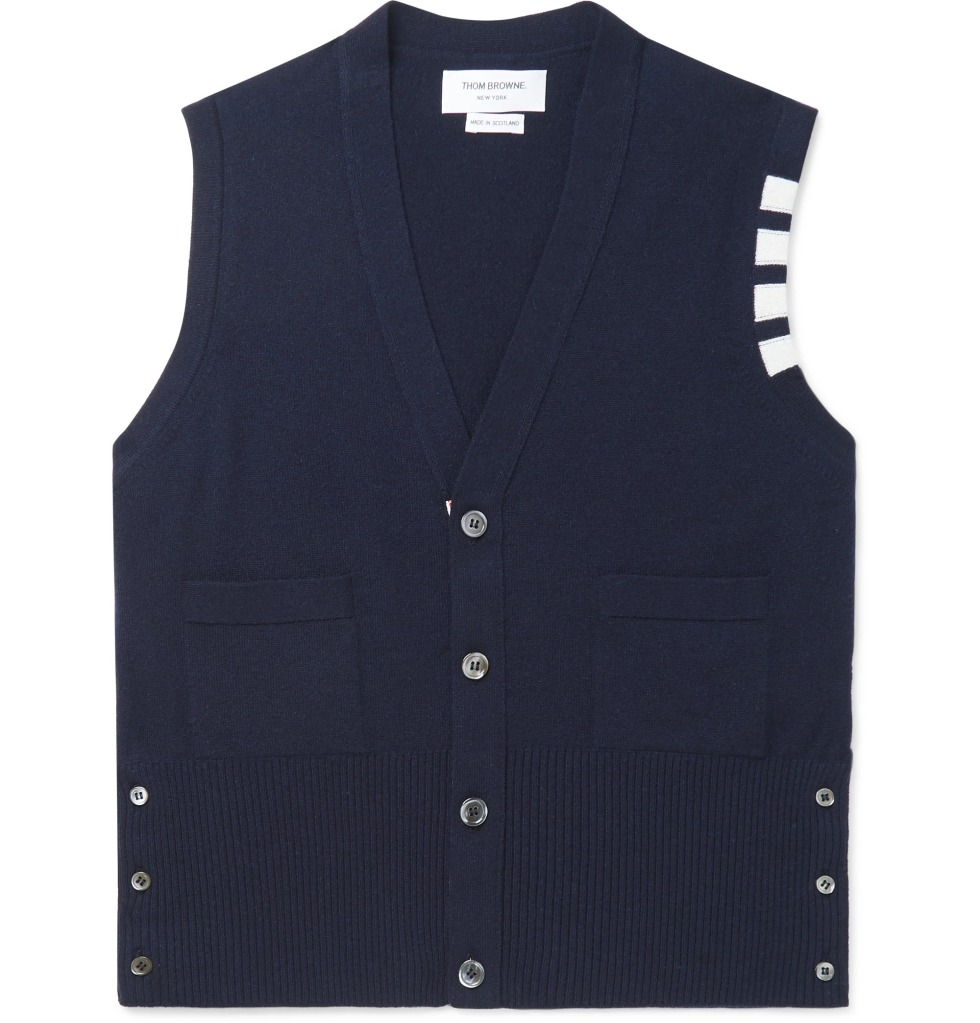 Striped Cashmere Sweater Vest by Thom Browne