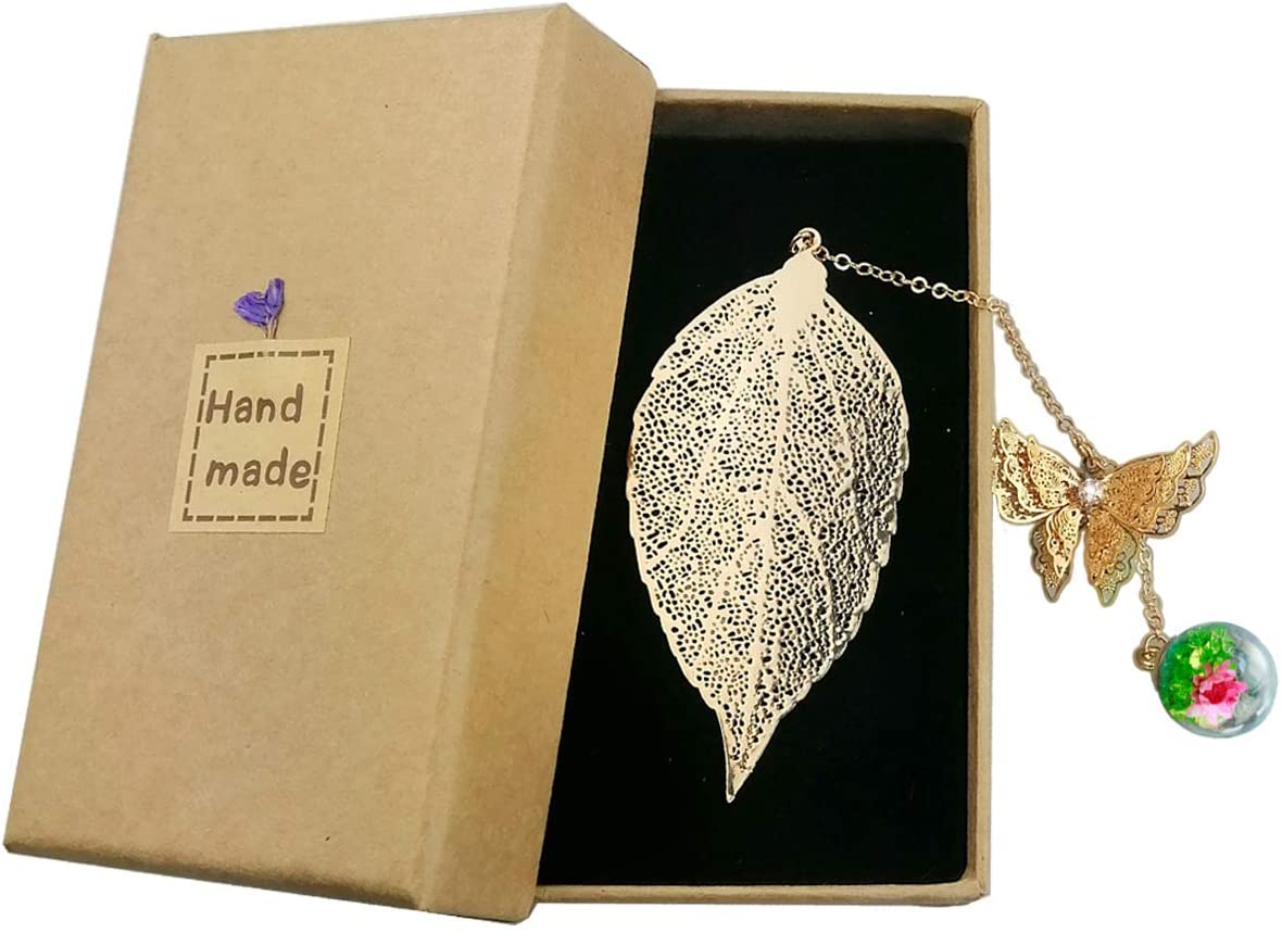 toirxam gold toned leaf bookmark with chain, best gifts for book lovers