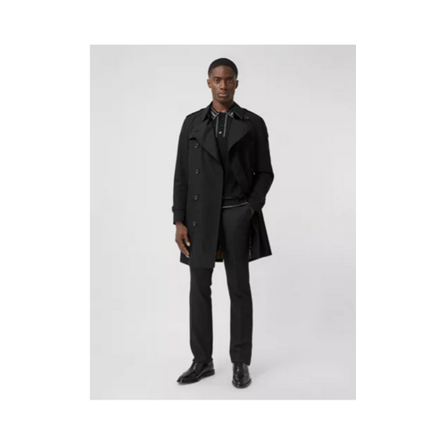 Burberry black chelsea mid length trench coat