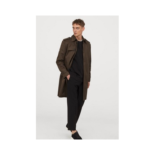 HM dark khaki single breasted trench coat