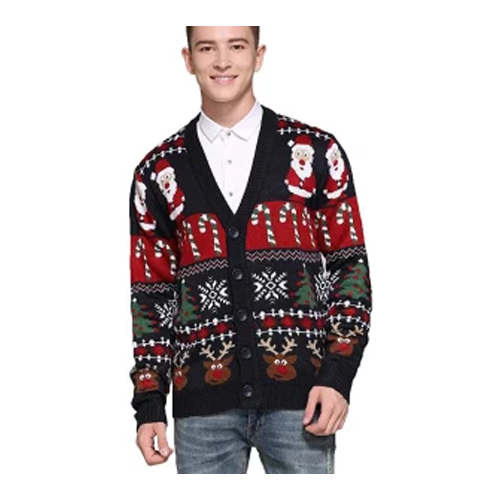 Men's Christmas Rudolph Reindeer Holiday Sweater, Cardigan Cute Ugly Pullover