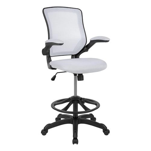 Flash Furniture Mid-Back White Mesh Ergonomic Drafting Chair