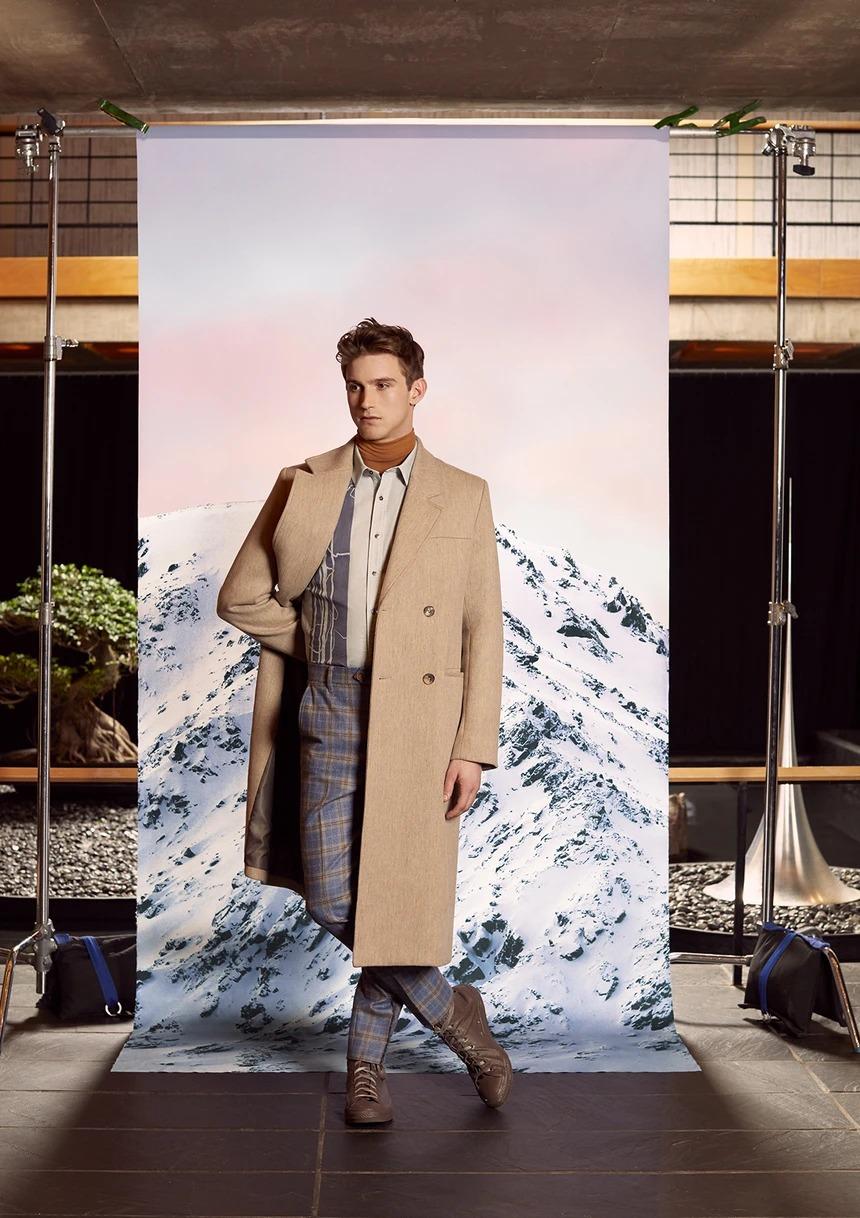 beige wool double breasted coat, camel coat for men