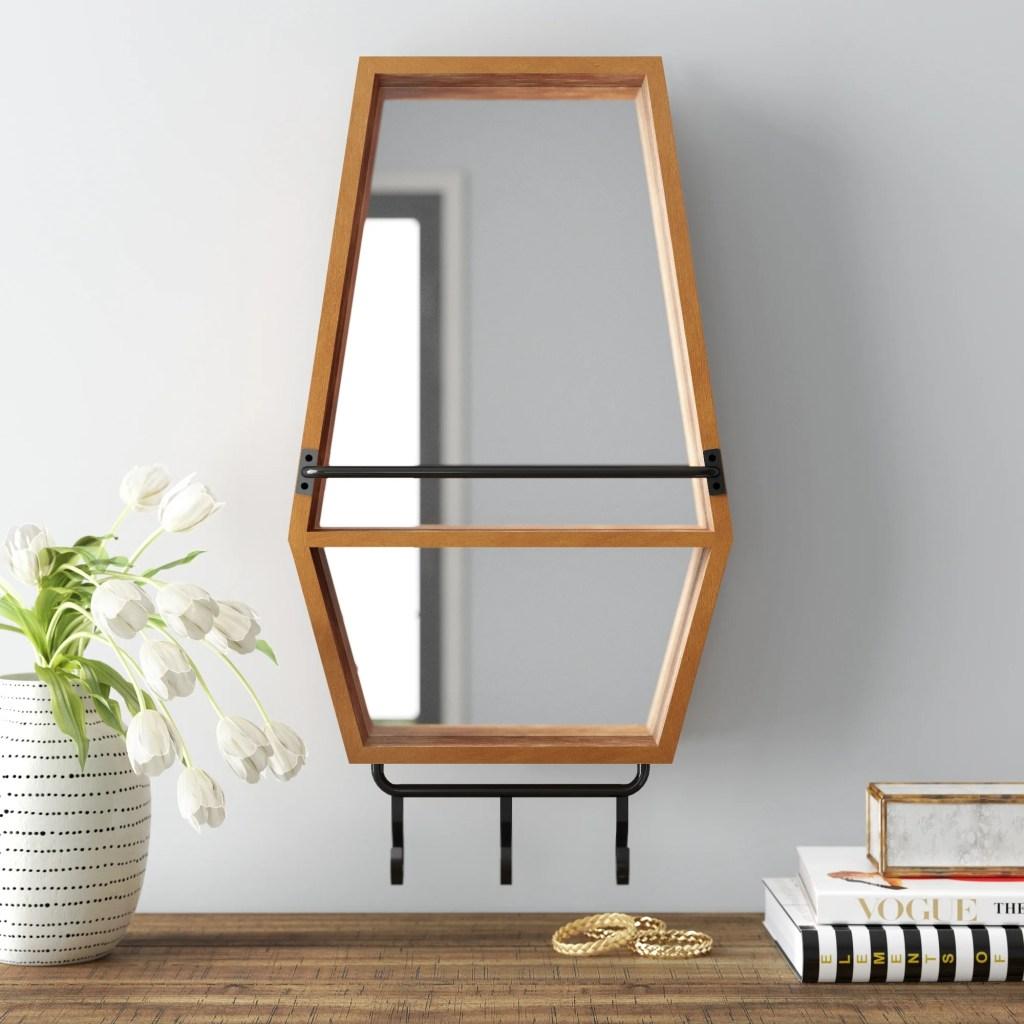 Wilder Hexagonal Wood Accent Mirror with Shelves