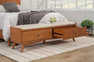 acorn williams upholstered drawer storage bench, bedroom storage bench
