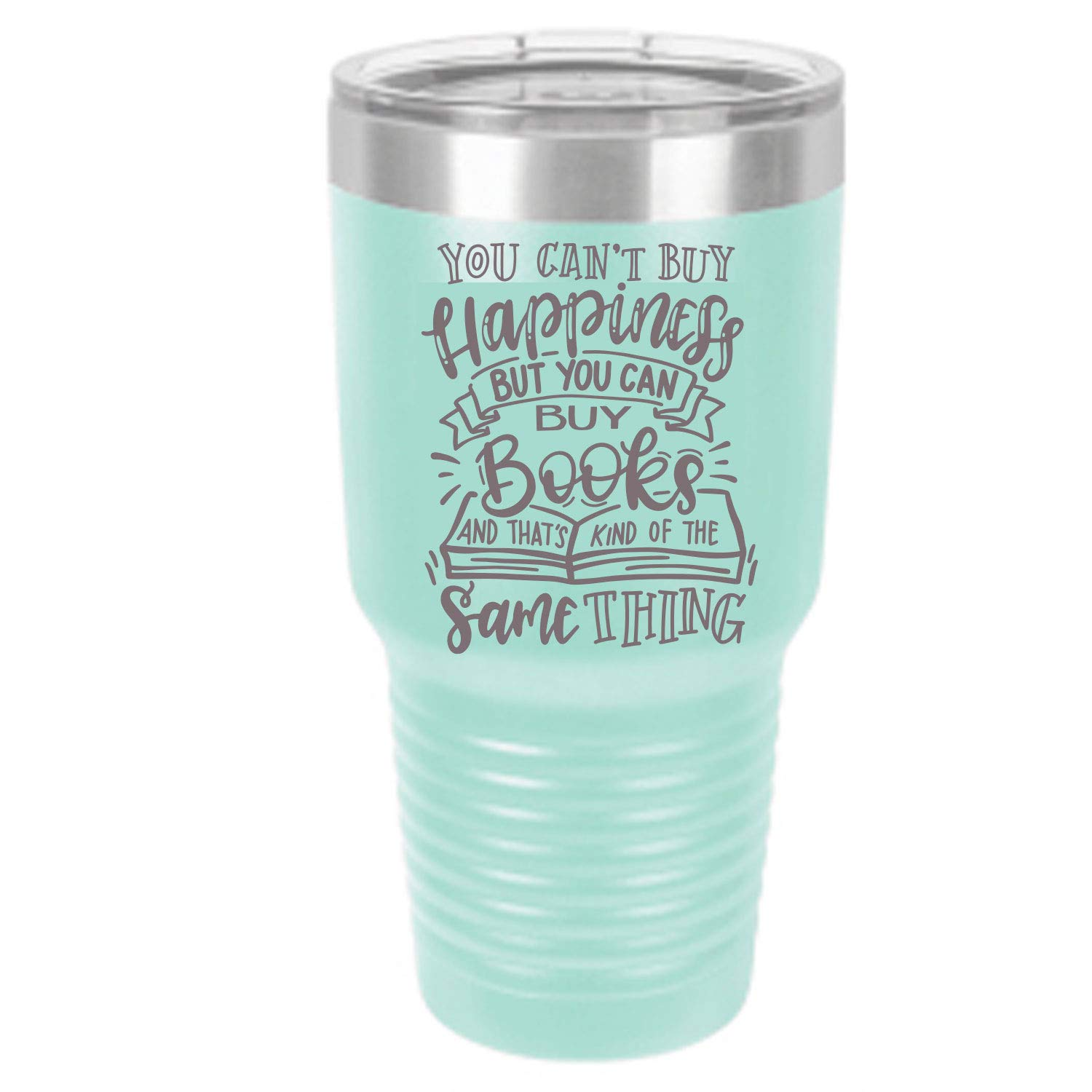 pale blue insulated book themed tumbler, best gifts for book lovers
