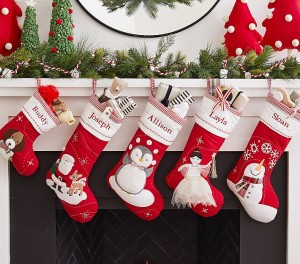 pottery barn quilted christmas stockings, christmas stockings