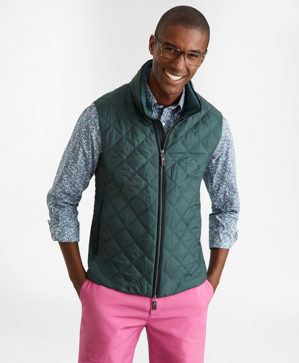 teal diamond quilted vest by brooks brothers