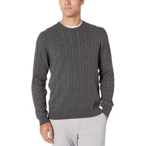 Amazon Essentials Crewneck Cable Cotton Sweater