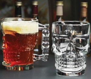 halloween skull beer draft mug