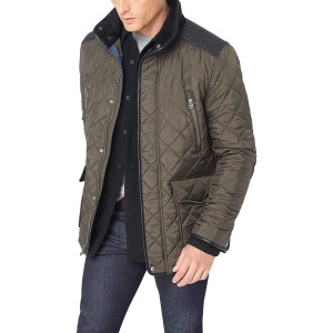 Cole Haan Quilted Jacket with Wool Yoke