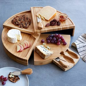 compact swivel cheese board with knives, cheese knife set