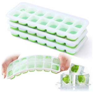 VEHHE 3 Pack Reusable Silicone Ice Cube Trays