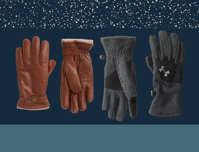 brown leather glove and graphite fleece