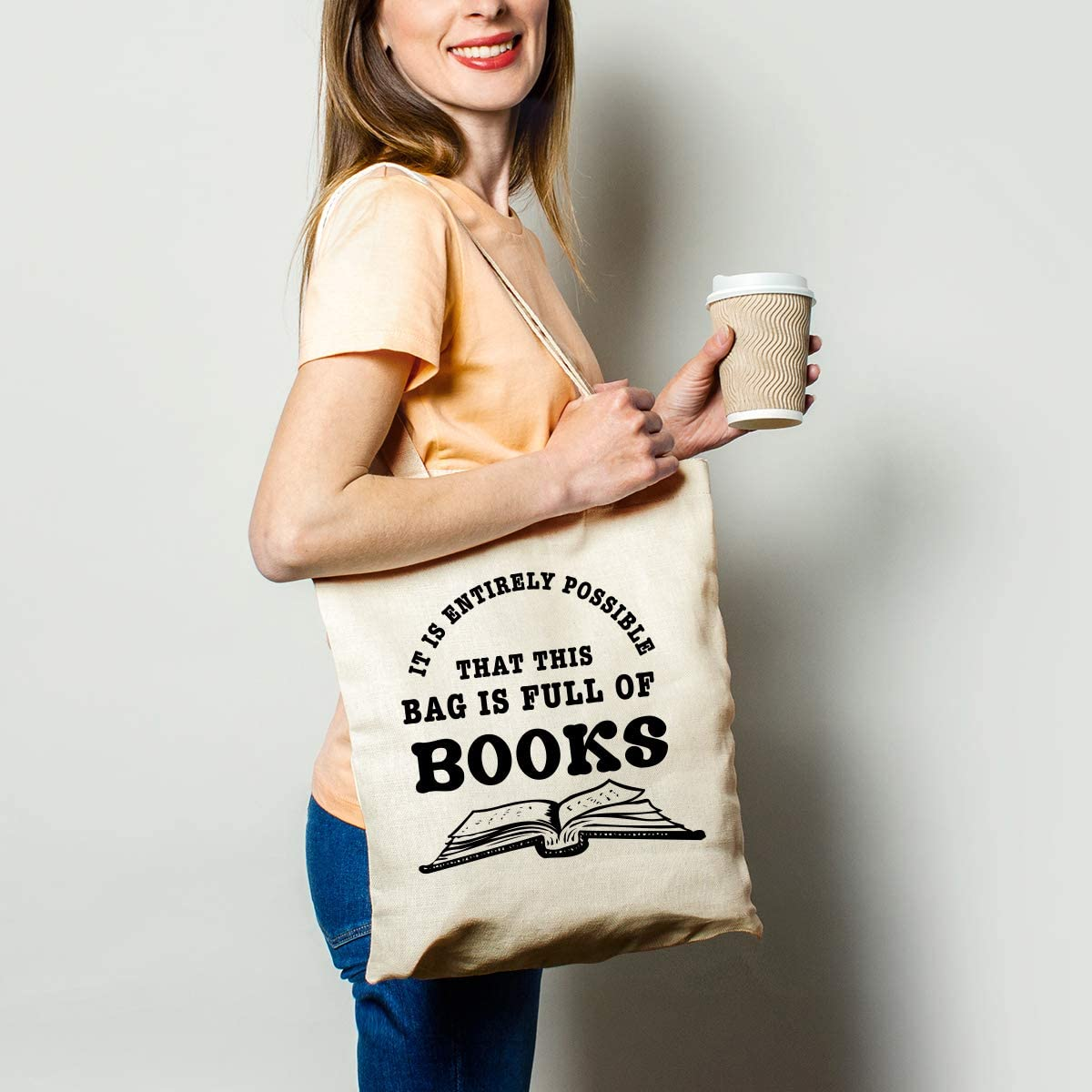 black and white book themed print canvas bag, best gifts for book lovers