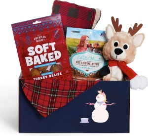 holiday dog goody box, gifts for dog lovers