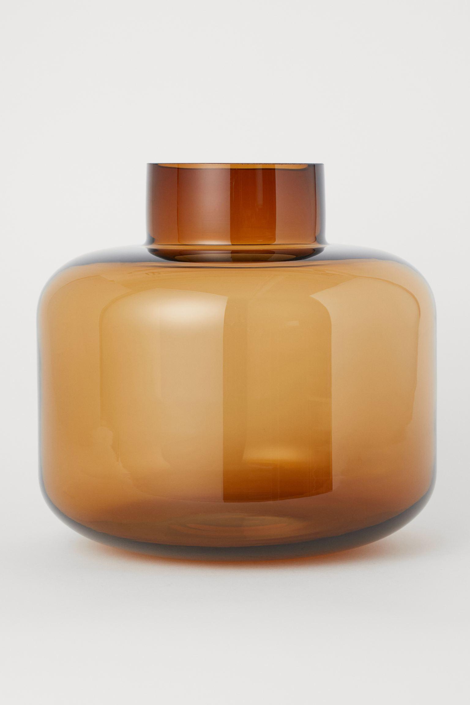 thanksgiving decoration - dark brown round glass vase