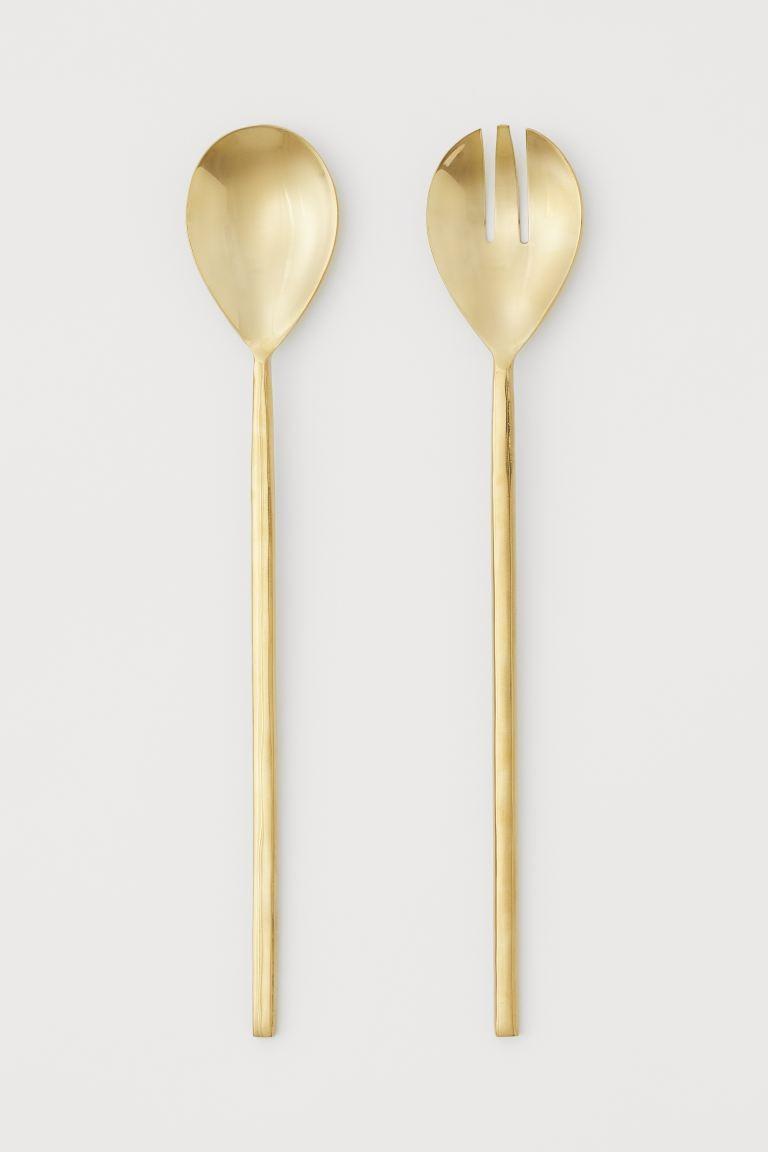 thanksgiving table decoration - gold metal salad serving utensils