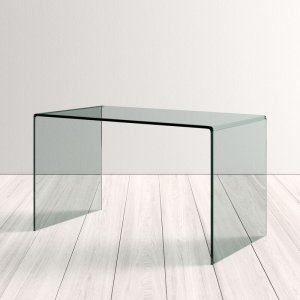 home office desk: Allmodern Mitzi glass desk with curved edges