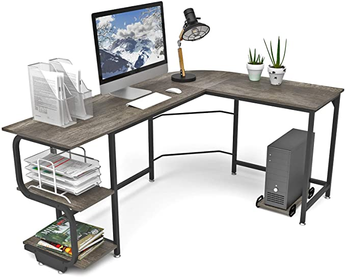 Teraves Reversible L Shaped Desk with Shelves