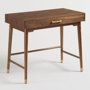 best desks: World Market Walnut and Gold Metal Zola Desk