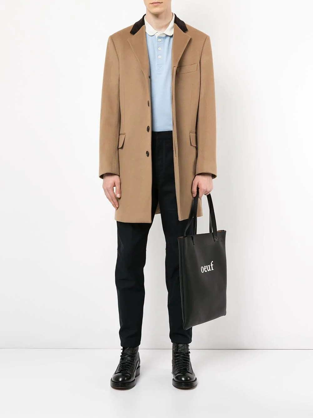 camel coat with black collar