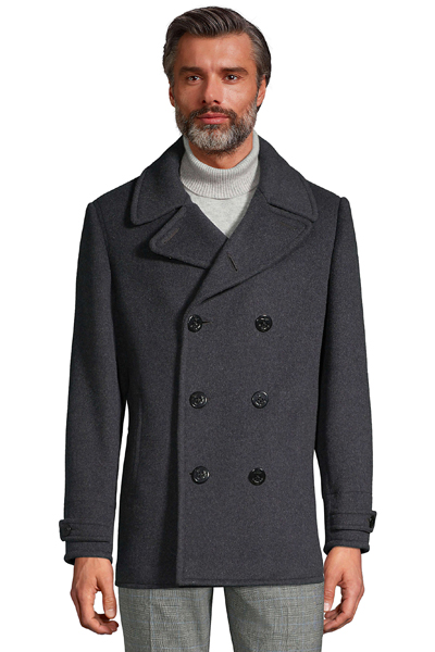 stylish men's peacoats for 2020 - Land's End Charcoal Wool Peacoat