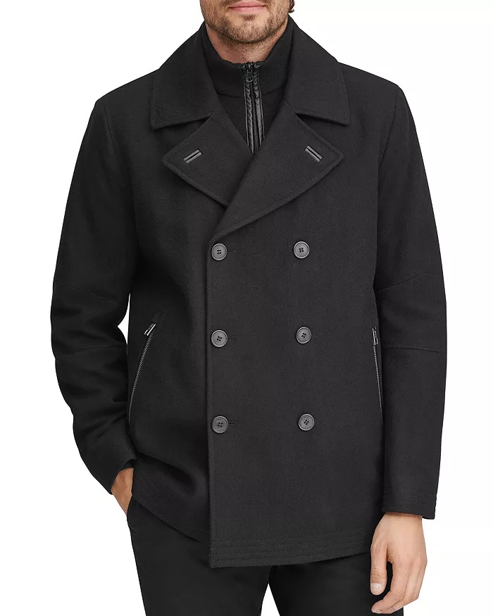 marc new york wool and leather peacoat