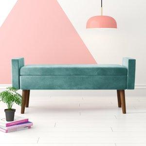 flip top storage bench, colorful storage bench, bedroom storage bench