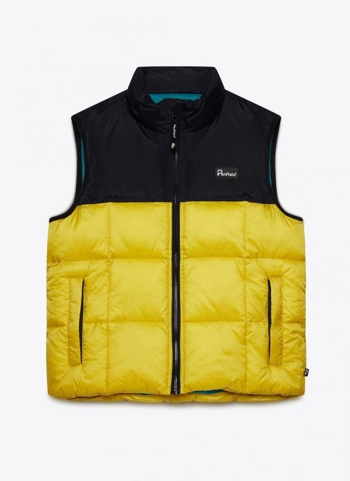 penfield black and yellow quilted vest