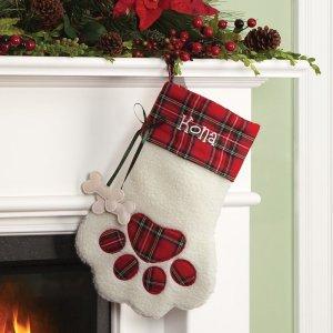 plaid bone dog stocking