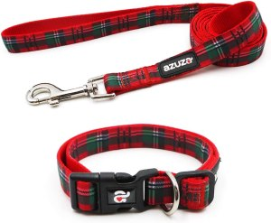plaid dog collar and leash, gifts for dog lovers