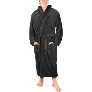 NY Threads Men's Shawl Collar Fleece Bathrobe