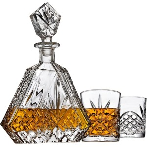 Lefonte Irish Cut Triangular Whiskey Decanter Set