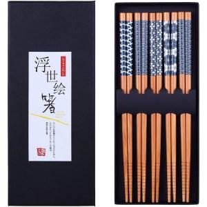 Antner 5 Pairs Natural Bamboo Chopsticks