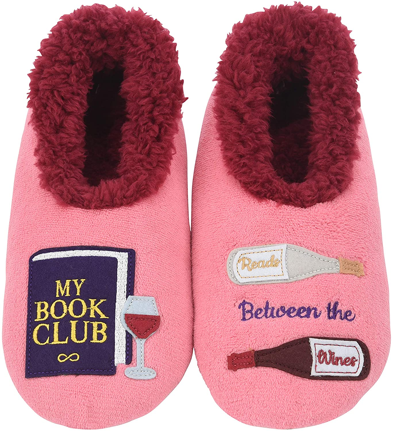 pink slipper socks with book club patches, best gifts for book lovers