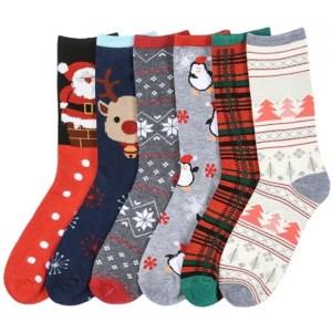 I&S 6 Pairs Christmas Crew Socks