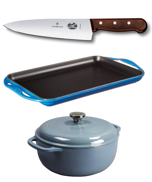 LE CREUSET ENAMELED CAST IRON , VICTORINOX SWISS ARMY CUTLERY ROSEWOOD CHEF'S KNIFE