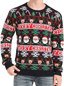 V28 Christmas Santa and Snowflakes Sweater