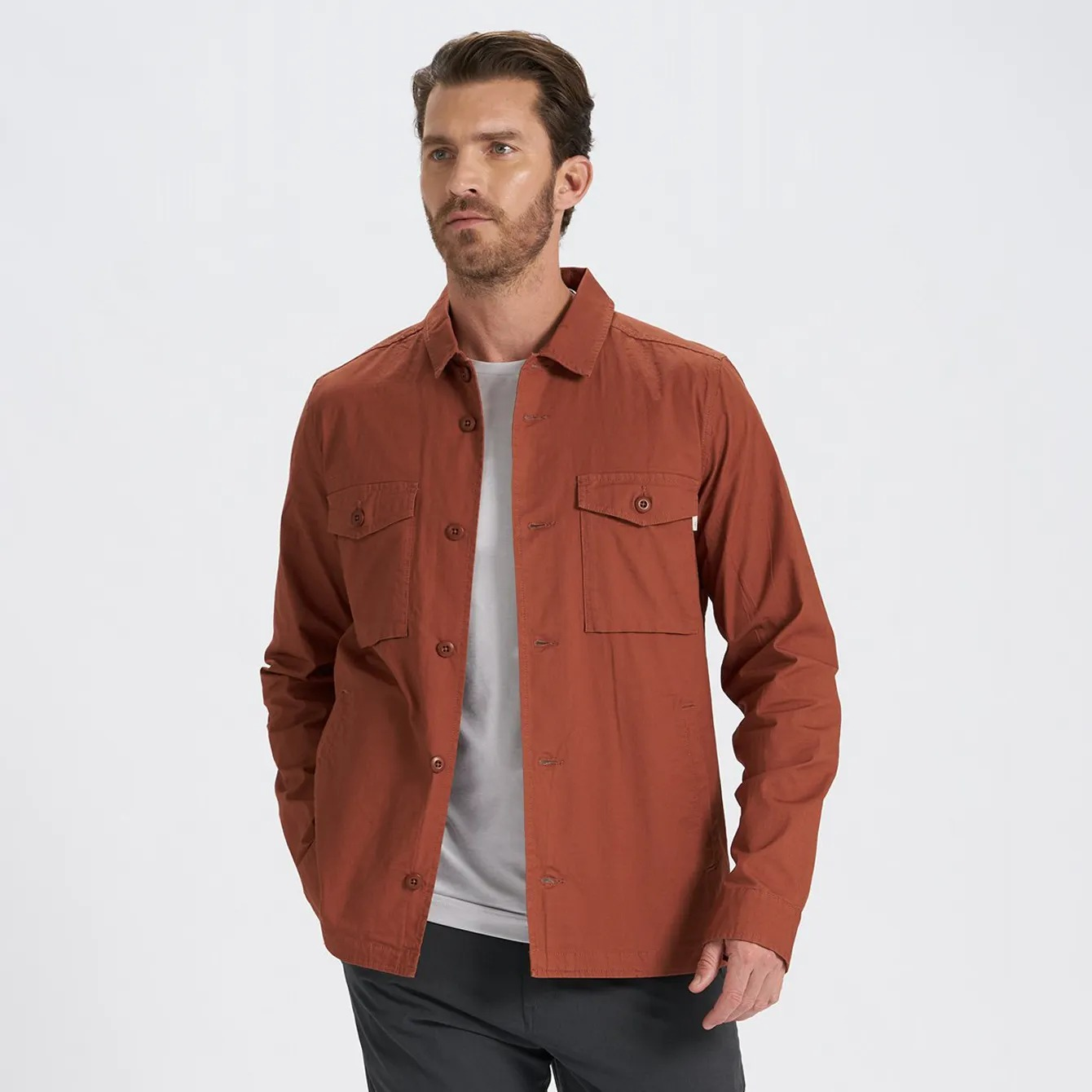 vuori ripstop jacket in dark copper