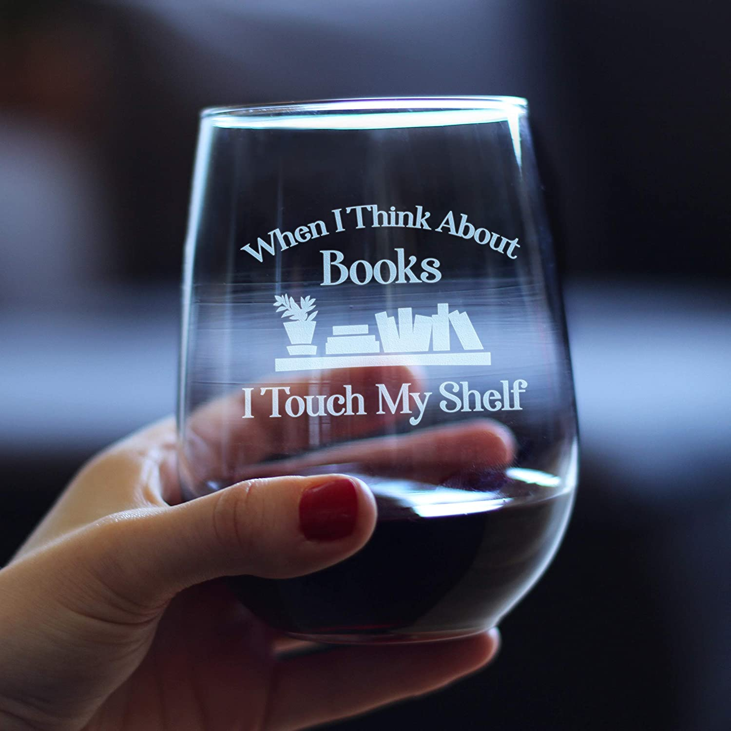gifts for book lovers - Bevee stemless book lover themed wineglass