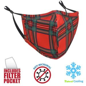 MaskMyFace Washable Tartan Christmas Face Mask