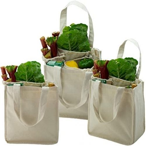 ecology cotton, reusable bags for produce and groceries