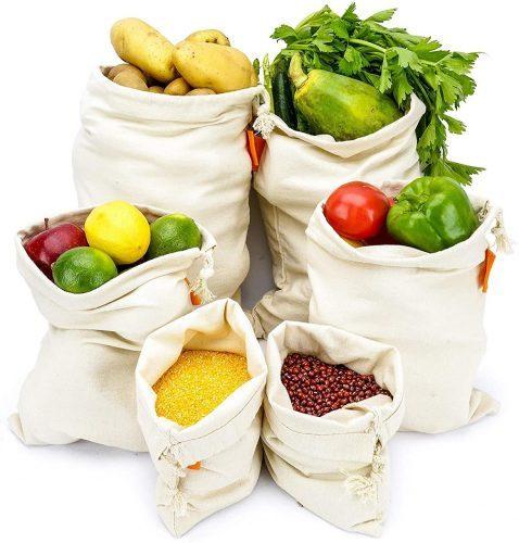 cotton mesh reusable bag for groceries